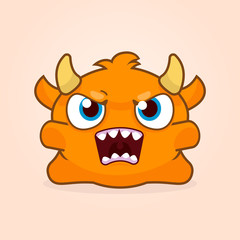 Cute cartoon monster. Little angry monster illustration