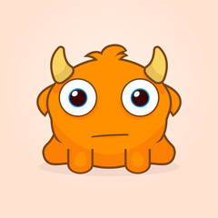 Cute cartoon monster. Little confused monster illustration