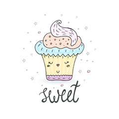 Hand drawn illustration of tasty cupcake. Vector collection.