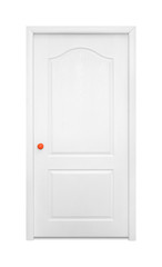 Furniture - White inside door in the orange handle. Isolated