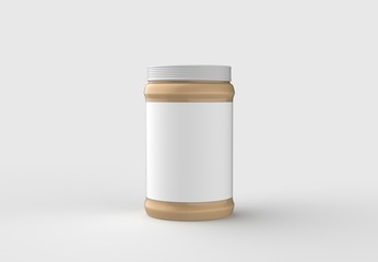 Peanut butter in jar mock up isolated on soft gray background with white label. 3D illustrating.