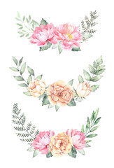 Watercolor illustration. Botanical bouquets with green branches, ferns and peonies. Spring mood. Floral Design elements. Perfect for invitations, greeting cards, prints, posters, packing
