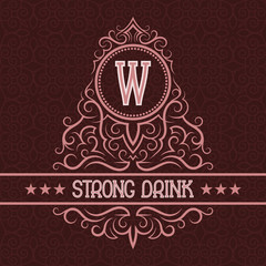 Strong drink label design template. Patterned vintage monogram with text on seamless pattern background.