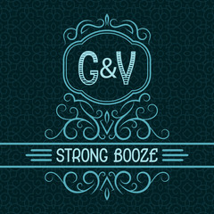 Strong booze label design template. Patterned vintage monogram with text on seamless pattern background.