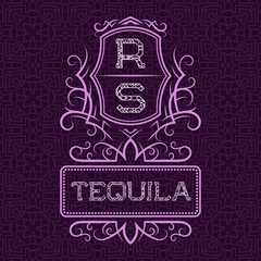 Tequila label design template. Patterned vintage monogram with text on seamless pattern background.