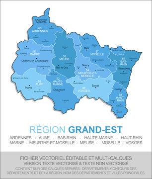 Carte de la région Grand-Est