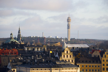 Roofs at old town and tele tower in Stockholm