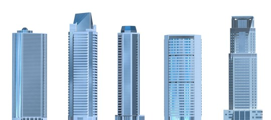 Fototapeta Skyscrapers 3D Illustration isolated on white background
