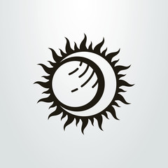 Black and white vector abstract simple sun eclipse icon