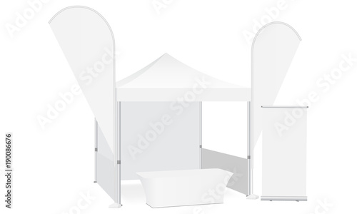 Trade show booth display stand - tent canopy feather flags roll-up stand and demonstration table. Blank exhibition equipment mockup. Vector illustration  sc 1 st  Fotolia.com & Trade show booth display stand - tent canopy feather flags roll-up ...
