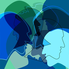 Blue Heads people concept, symbol of communication between people. Vector ilustration.