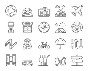 Vector line icons set of hiking, travel and adventure