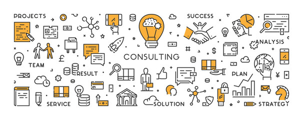 Vector line banner and concept for consulting