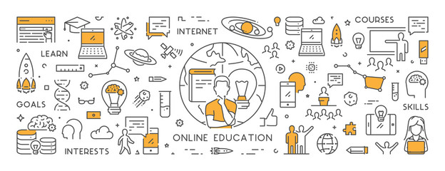 Vector line banner for online education