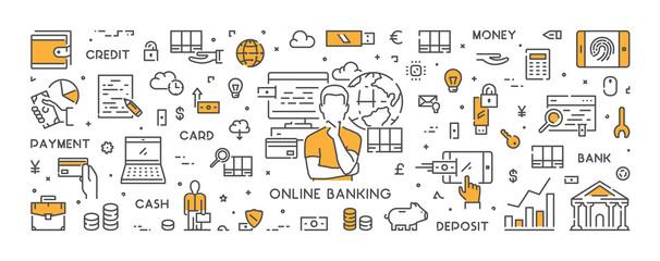 Vector line web banner for online banking
