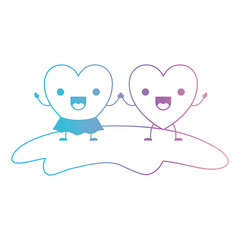 couple heart character kawaii holding hands and her with skirt in jolly expression in degraded blue to purple color contour vector illustration