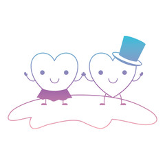 couple heart character kawaii holding hands and her with skirt and him with top hat in smiling expression in degraded blue to purple color contour vector illustration