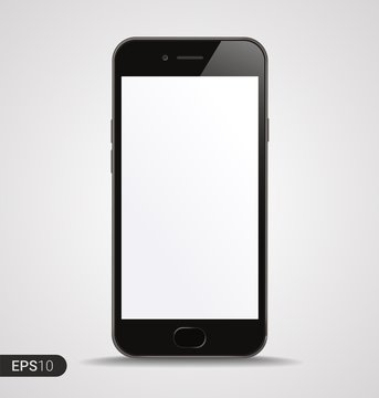 New High Detailed Realistic Smartphone with Blank Screen isolated on White Background. Front View For Print, Web, Application. Device Mockup Separate Groups and Layers. Easily Editable Vector