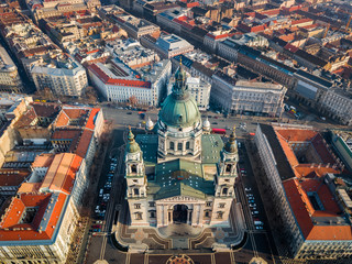 Budapest, Hungary - Aerial skyline view of famous St.Stephen's Basilica and downtown of Pest