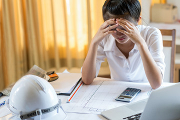 Asia women engineer tried and pressured because the construction problem.