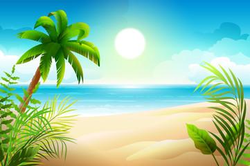 Sunny day on tropical sandy beach. Palm trees and sea paradise holidays