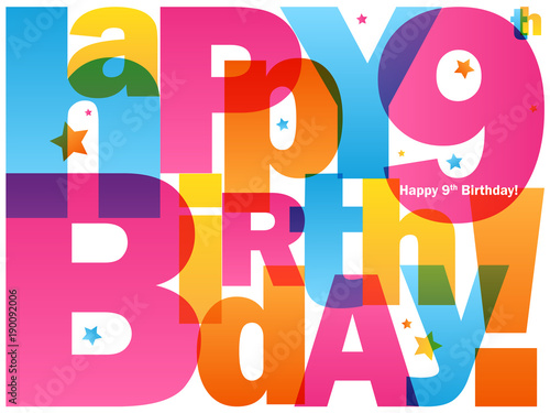 Happy 9th Birthday Card Stock Image And Royalty Free Vector Files