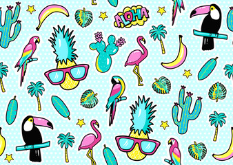 Seamless pattern with fashion patch badges with toucan, flamingo, parrot, exotic leaves, hearts, stars, speech bubbles, pineapple. Vector illustration in cartoon 80s-90s style..