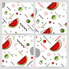 Trendy Memphis style watermelon geometric pattern, vector