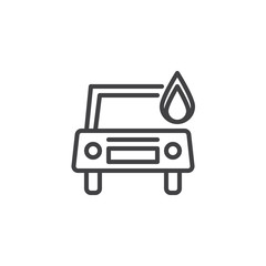 Burning car line icon, outline vector sign, linear style pictogram isolated on white. Car in fire symbol, logo illustration. Editable stroke