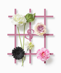 Wallpaper design 3d effect with colorful flowers