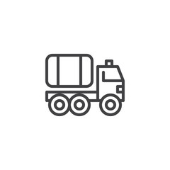 Fire truck line icon, outline vector sign, linear style pictogram isolated on white. Water carrier vehicle symbol, logo illustration. Editable stroke