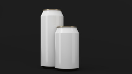 Big and small white and gold soda cans mockup