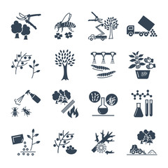 set of black icons gardening, farm production process