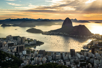View of Rio de Janeiro City Landmark - the Sugarloaf Mountain, with the Sun Shining Above