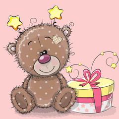 Greeting card cute Teddy Bear with gift
