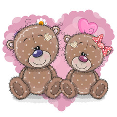 Two Cartoon Bears on a background of heart