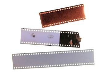 Three film strip isolated on white background. Design element.