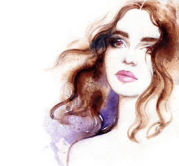 Wall Mural - Beautiful woman. Fashion illustration. Watercolor painting