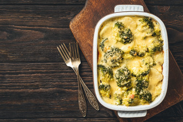 Casserole with broccoli, potatoes, eggs and cheese.