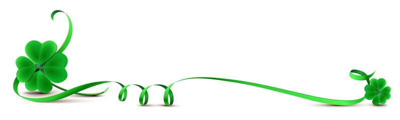 Klee mit geschwungenem Band Grün - Banner mit Textfreiraum
