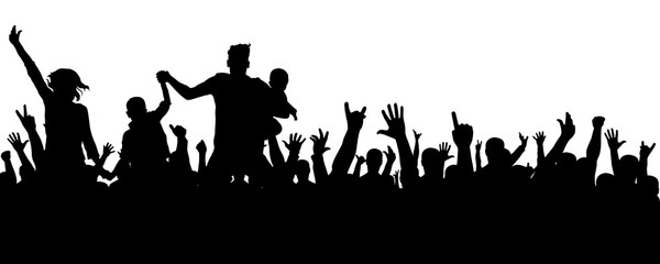 Cheerful crowd silhouette. Party people, applaud. Fans dance concert, disco.Hands up