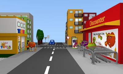 Stadtansicht mit Discounter und Bewohnern die wie Valentinsherzen aussehen. 3d render