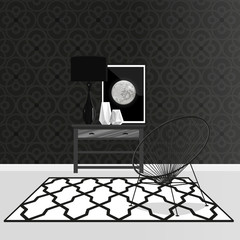 Black and white stylish interior with modern decor elements. Vector illustration.