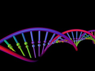 DNA strand. Isolated on black background. 3D rendering illustration.