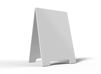 Crezon A-frame sandwich boards for design mock up and presantation. white blank 3d render illustration.