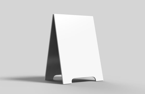 Crezon A-frame sandwich boards for design mock up and presantation. white blank 3d render illustration.