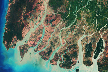 River delta of the Irrawady, a river that flows from north to south through Myanmar - Modified elements of this image furnished by ESA