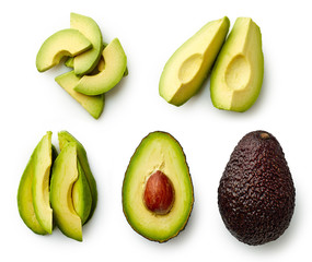 Whole and sliced avocado