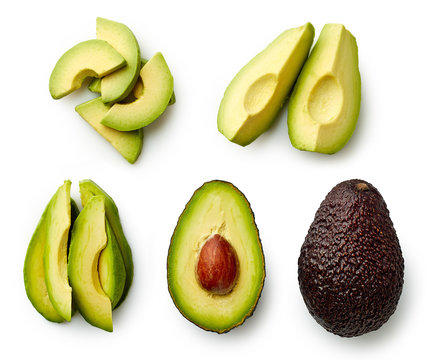 Whole and sliced avocado