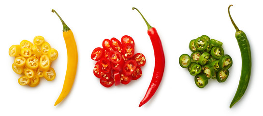 Canvas Prints Hot chili peppers Whole and chopped colorful chili peppers